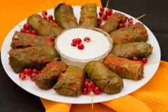 Dolma - φύλλα αυτών των σταφυλιών που γεμίζονται με βασισμένο στο ρύζι, ως καλά βρασμένος κιμάς Είναι κοινό στις κουζίνες Καύκασο Στοκ Φωτογραφία