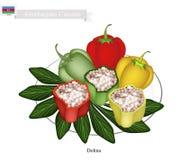 Dolma Or Azerbaijani Stuffed Meat In Grape Leaves Stock Vector - Image ...