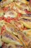 Dolma biber, välfyllda peppar, paprika Arkivbild