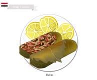 Dolma eller irakiskt välfyllt kött i druvasidor vektor illustrationer