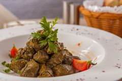 Dolma of grape leaves. Azerbaijan national dish stock photography