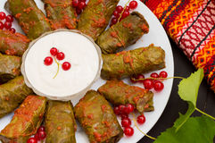 Dolma - this grape leaves stuffed with rice-based, as well  boiled minced meat. It is common in kitchens Caucasus, the Stock Photos