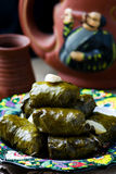 Dolma from grape leaves. Royalty Free Stock Photo