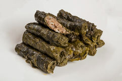 Dolma from grape leaves. Traditional Armenian and Greek dolma cooked meat and grape leaves Stock Image