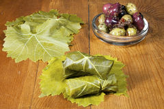 Dolma with Olives. Traditional Lebanese Dolma with spiced olives and grape leaves Royalty Free Stock Image