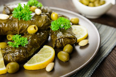 Dolma - stuffed grape leaves with rice and vegetable Stock Photography