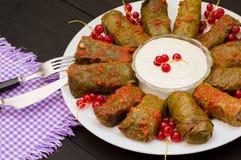 Dolma - ten winogrono opuszcza faszeruje z opierającym się, gotowanym minced mięsem, także Ja jest pospolity w kuchniach Kaukaz Obrazy Royalty Free