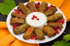 Dolma - ten winogrono opuszcza faszeruje z opierającym się, gotowanym minced mięsem, także Ja jest pospolity w kuchniach Kaukaz Zdjęcie Stock