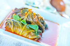 Dolma with tomato sauce Royalty Free Stock Images