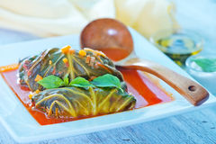 Dolma with tomato sauce Stock Photos