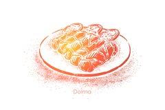 Dolma turco, rolos saborosos com carne triturada e arroz envolvido nas folhas, almoço nutriente delicioso ilustração do vetor