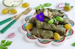 Dolma on turkish plates Stock Image