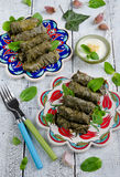 Dolma on turkish plates Stock Photos