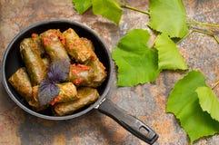 Dolma w niecce - ten winogrono opuszcza faszeruje z opierającym się, gotowanym minced mięsem, także Ja jest pospolity w kuchniach Zdjęcia Stock