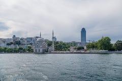 Dolmabahçemoskee op de Bosporus, 1855 in Istanboel, Turkije Stock Afbeeldingen