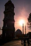 从Dolmabahce宫殿,伊斯坦布尔的尖沙咀钟楼 免版税库存照片