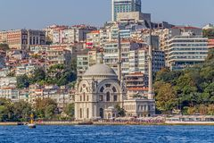 Dolmabahce清真寺-从Bosphorus的看法 免版税库存照片