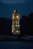 Dolmabahce Clock Tower. Famous Dolmabahce Clock Tower in Istanbul at night stock photography
