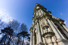 Dolmabahce clock tower , Istanbul , Turkey. Dolmabahce clock tower located in the front yard of dolmabahce palace, Istanbul , Turkey Royalty Free Stock Images