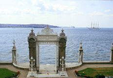 Dolmabahce gate. Dolmabahce palace gate on bosporus in Istanbul, Turkey stock photography