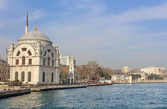 Dolmabahce Mosque and Dolmabahce palace Stock Image