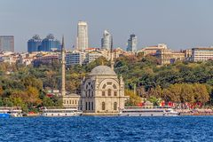 Dolmabahce Mosque. ISTANBUL, TURKEY - SEPTEMBER 29, 2013: Tourist ships crusing around Dolmabahce Mosque Stock Image