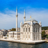 The Dolmabahce Mosque. Is in Istanbul, Turkey. It was commissioned by queen mother Bezmi Alem Valide Sultan royalty free stock photography