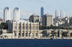 Dolmabahce palace. Scene from the bosporus royalty free stock images