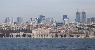 Dolmabahce Palace and Besiktas in Istanbul City Stock Photo