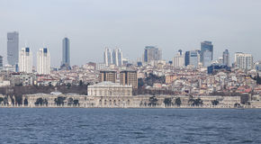 Dolmabahce Palace and Besiktas in Istanbul City Stock Photography