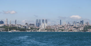 Dolmabahce Palace and Besiktas in Istanbul City, Turkey Royalty Free Stock Photography