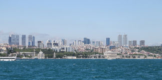 Dolmabahce Palace and Besiktas in Istanbul City, Turkey Stock Photography