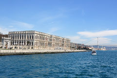 Dolmabahce Palace and Bosphorus Bridge royalty free stock image