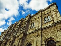 Dolmabahce Palace building. Vintage toned. Baroque style. Main building of the Dolmabahce Palace. Istanbul, Turkey stock photos