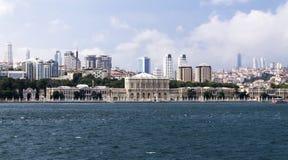 Dolmabahce Palace. On city background, Istanbul, Turkey stock image