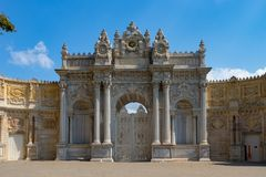 Dolmabahce Palace entrance Gate of Sultan. Istanbul, Turkey stock photos