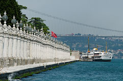 Dolmabahce Palace shore Stock Image