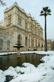 Dolmabahce Palace on a snowy day Royalty Free Stock Image