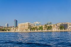 Dolmabahce palace - view from the Bosphorus Royalty Free Stock Images
