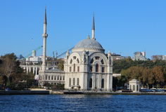 Dolmabahçe Mosque as seen from the Bosporus, Istanbul Stock Photography