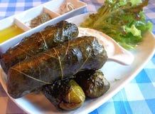 Dolmades,葡萄叶子充塞用米和草本,传统希腊和地中海开胃菜 免版税库存照片