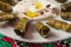 Dolmades. Stuffed grape leaves with laban in the middle royalty free stock photography