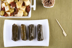 Dolmas and Cheese Royalty Free Stock Photos