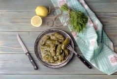 Dolmas in salsa del uovo-limone fotografie stock libere da diritti