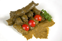 Dolmas (sarma, dolmadakia) on grape leaf Royalty Free Stock Images