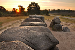 A dolmen. In the Netherlands at sunrise Stock Photography