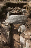 Dolmen of Cruzinha or Arribada frontal view. Esposende, Portugal Royalty Free Stock Photos