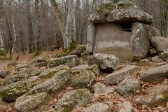 Dolmen dans une forêt images libres de droits