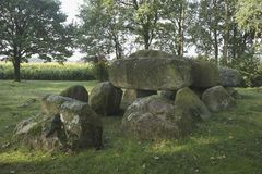 Dolmen, Drenthe, The Netherlands. A dolmen in the province of Drenthe, The Netherlands. A dolmen is a type of single-chamber megalithic tomb, usually consisting royalty free stock images