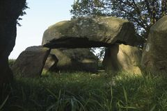 Dolmen, Drenthe, The Netherlands. A dolmen in the province of Drenthe, The Netherlands. A dolmen is a type of single-chamber megalithic tomb, usually consisting stock photos